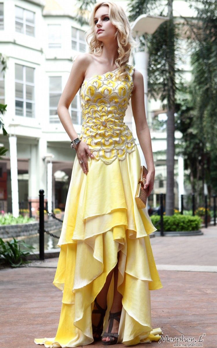 New one shoulder satin yellow gown prom long evening dress