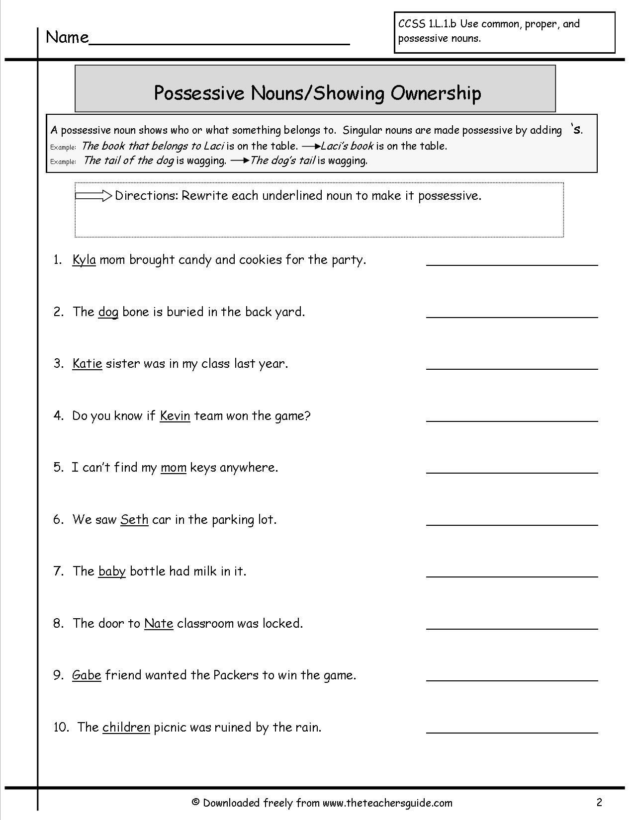 Possessive Nouns Worksheets 3rd Grade Possessive Pronouns