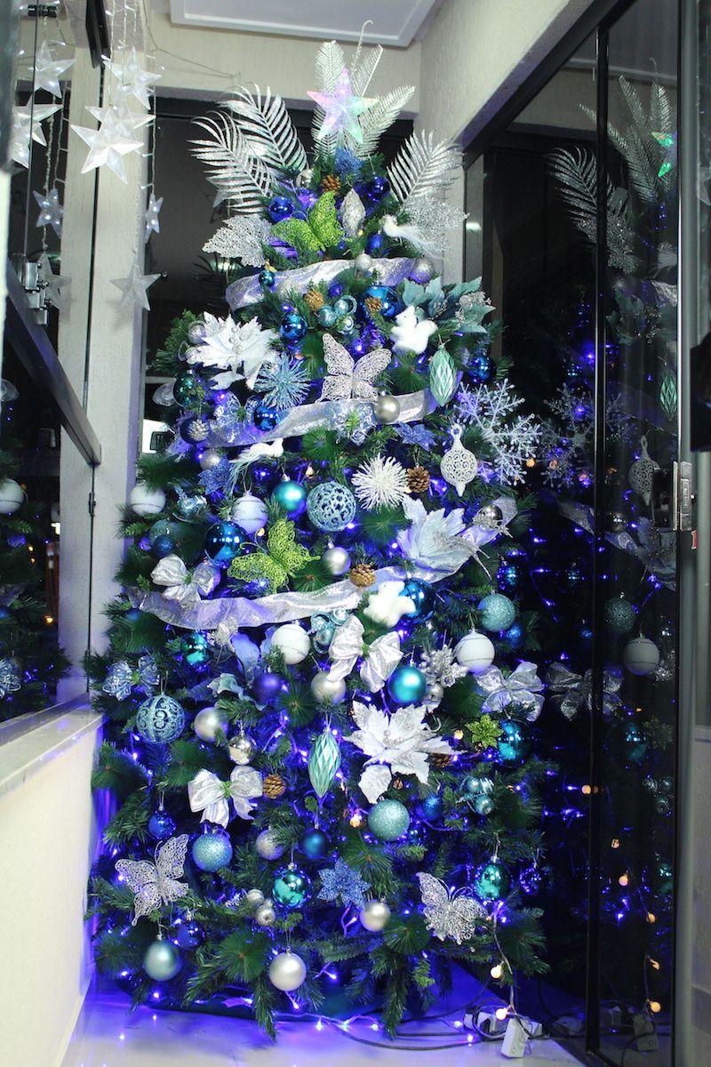 Arvore De Natal Azul E Verde Com Imagens Decoracao De Natal