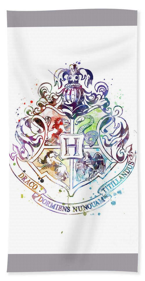 Hogwarts Crest Watercolor Bath Towel For Sale By Monn Print Fikirler