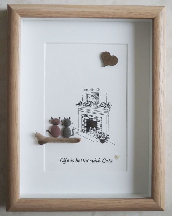 pebble art framed picture live is better with cats sc nes de galets 4 pinterest art. Black Bedroom Furniture Sets. Home Design Ideas