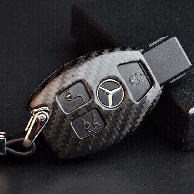 Fit Mercedes-Benz Leather Key Fob Case Carbon Fiber Style for Men