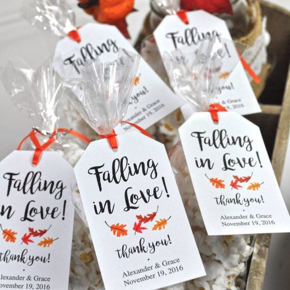 Falling In Love Fall Wedding Falling Leaves Favor Tags Bridal Showers Etc Halloween Wedding Favors Wedding Favors Fall Fall Bridal Shower Favor