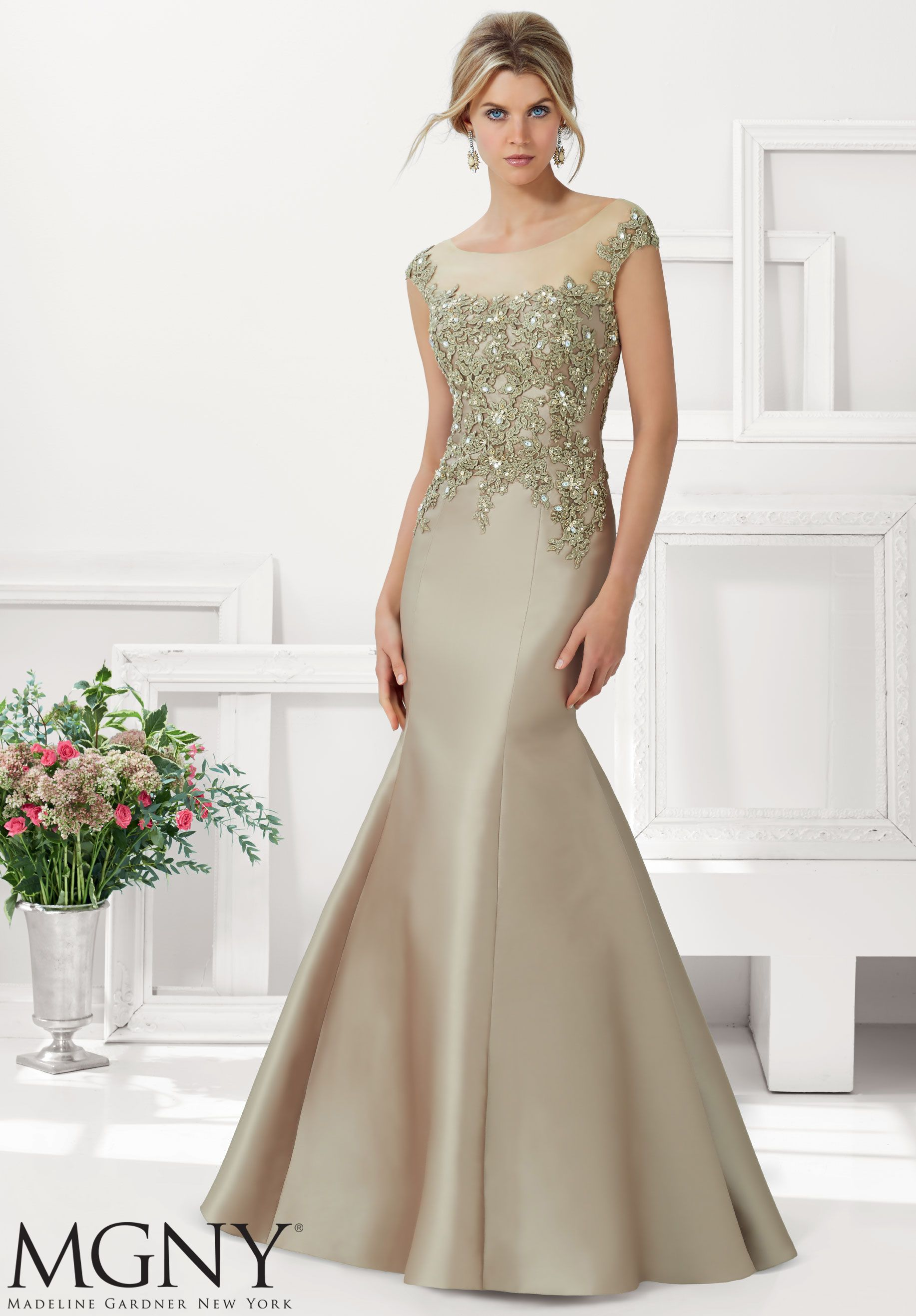 Evening gowns dresses style larissa satin with beaded