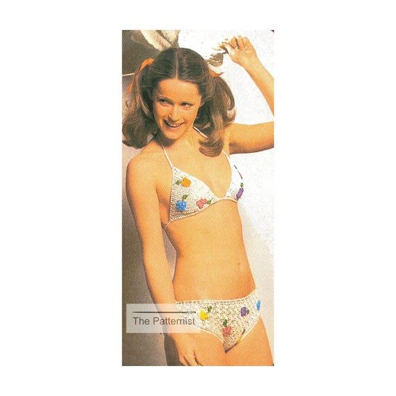 Bikini Pattern – Vintage Crochet Pattern PDF – Swimsuit with Floral Embroidery – Bathing Suit Patter
