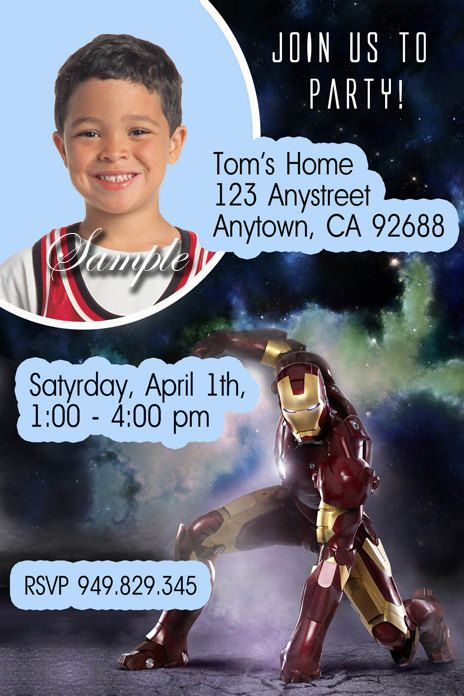 IRON MAN Invitations Birthday Printable Diy Children Custom 1295 Via Etsy