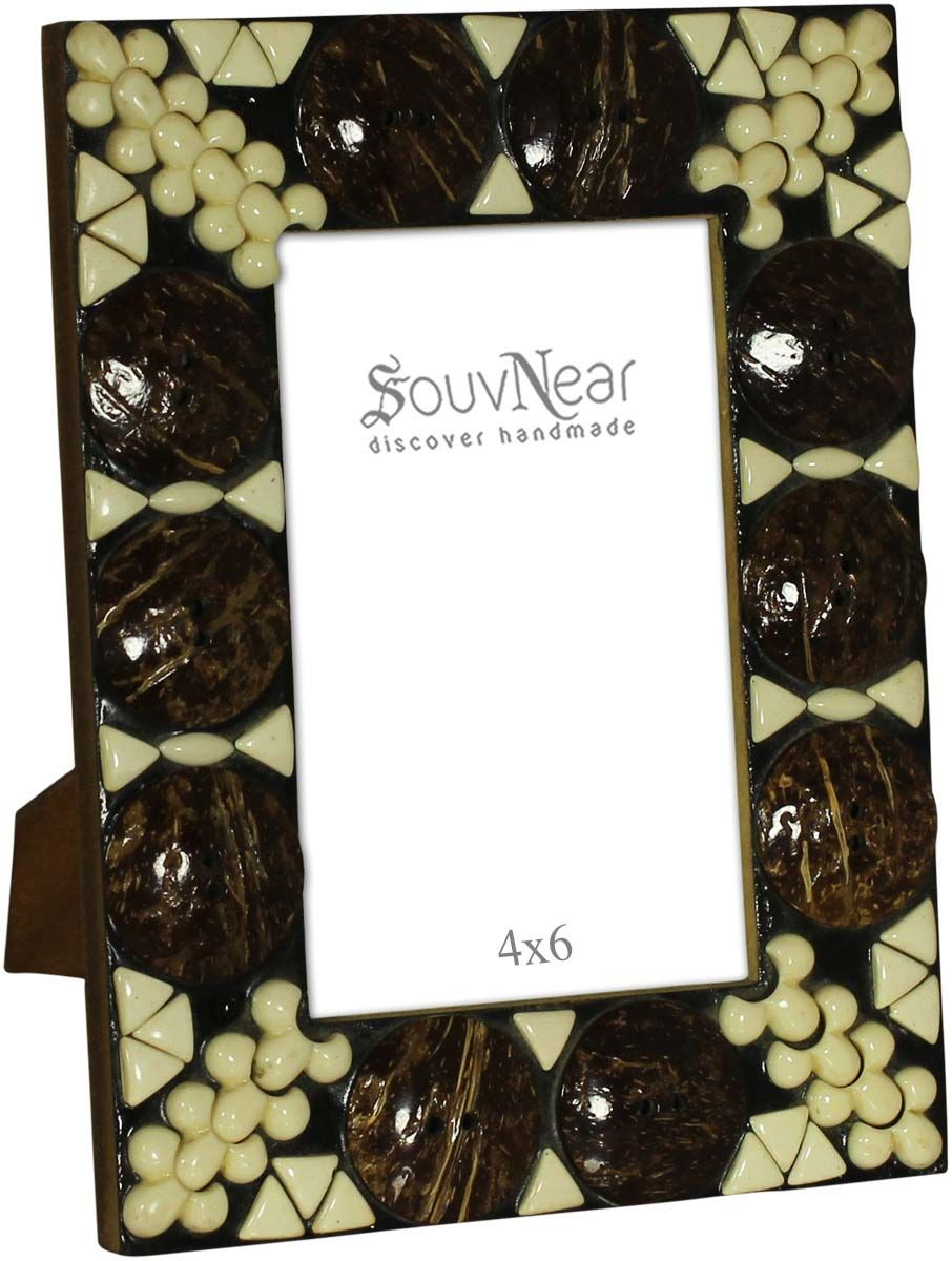 Bulk Buy 4x6 Inches Picture Frame in Brown & Off-White - Wholesale ...