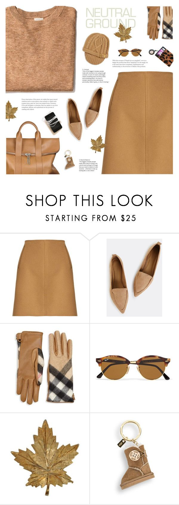 """""""#neutrals"""" by giulls1 ❤ liked on Polyvore featuring Tomas Maier, Burberry, Ray-Ban, UGG, MICHAEL Michael Kors, skirt, Sweater, neutrals and camel"""