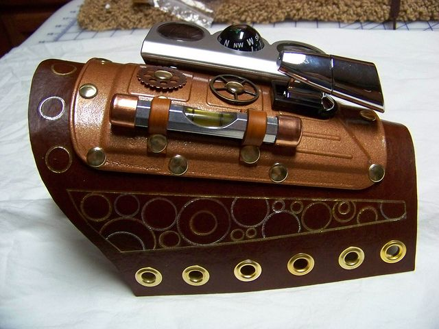 steampunk wrist guard for him by sundaysquilts, via Flickr
