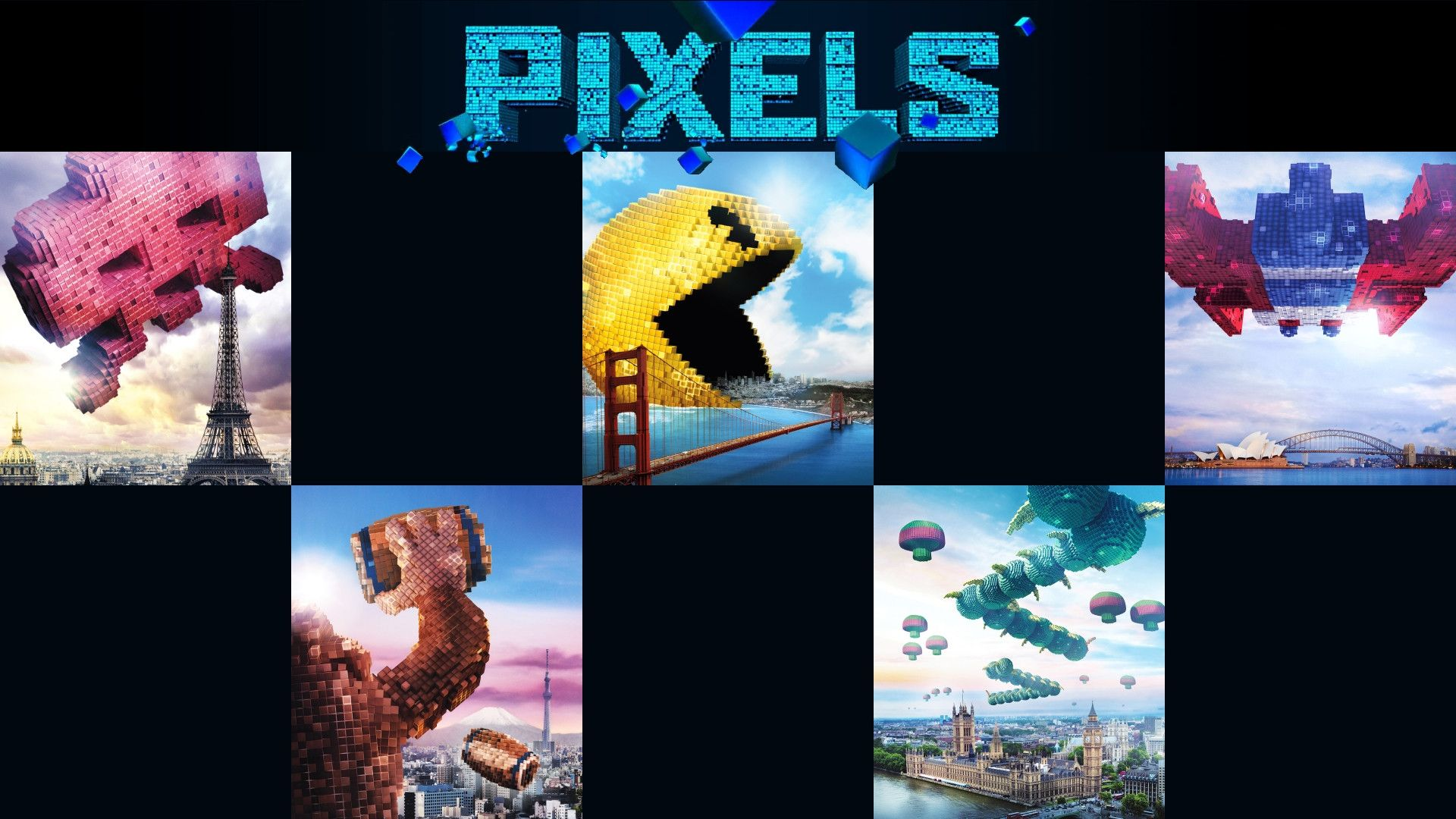 Pixels Movie Posters Of Arcade Classics 1920x1080 Wallpapers Pixels Movie Movie Wallpapers Wallpaper