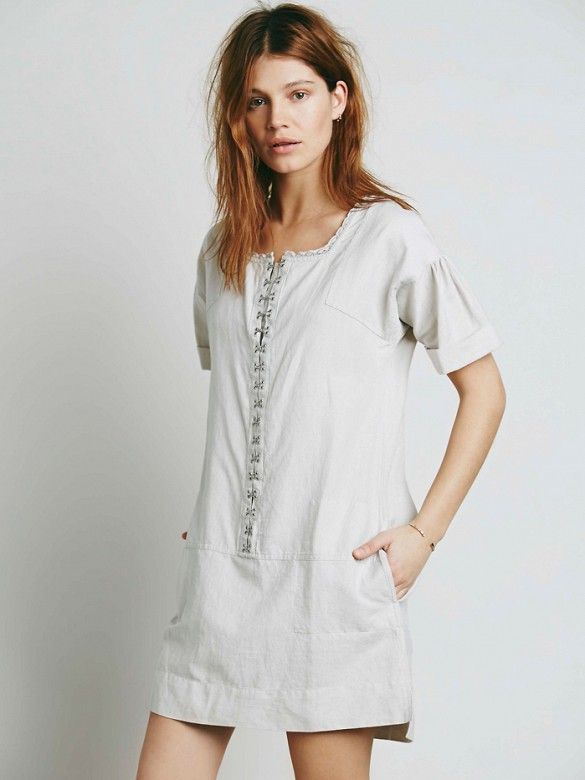 Free People Exclusive Sundrop Shapeless Mini Dress with lace-trimmed neckline