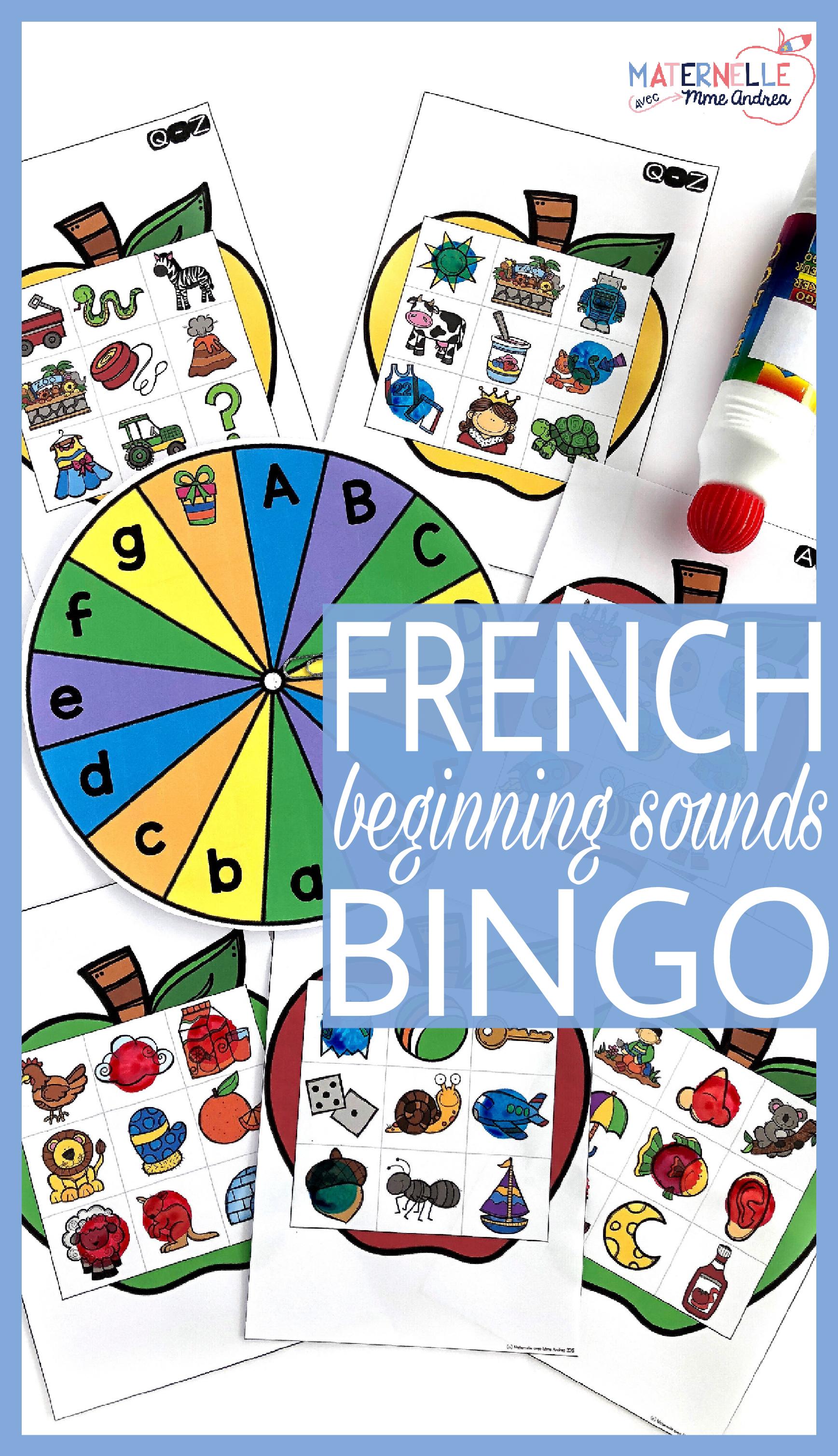French Beginning Sound Bingo Bingo Pour Le Son Initial