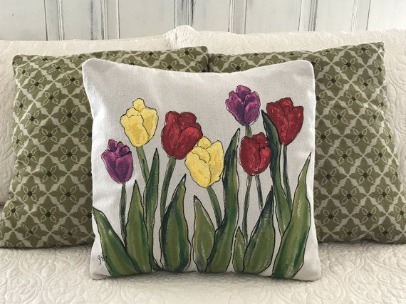 Tulips Spring Flowers Purple Blue Red Yellow By Sippingicedtea Hand Painted Pillows Easter Pillows Spring Pillows
