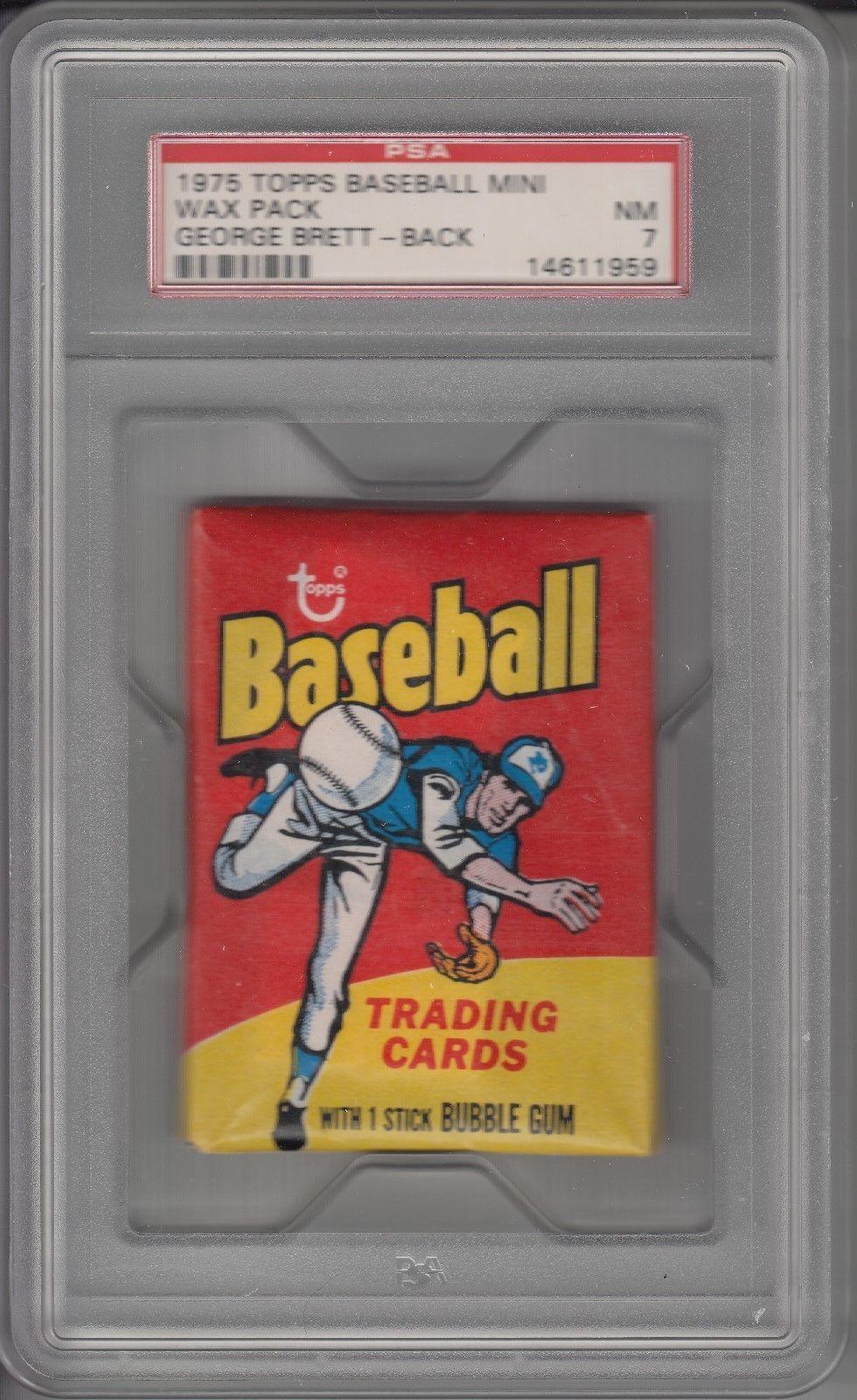 1975 topps mini baseball unopened wax pack psa 7
