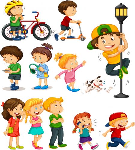 تصميم مجموعة اطفال رائعة ملف مفتوح Kids Canvas Cartoon Sketches Kids