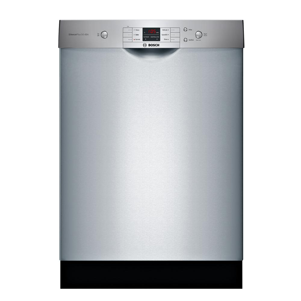 Bosch 100 Series 24 In Anti Fingerprint Stainless Steel Front Control Tall Tub Dishwasher With Hybrid Stainless Steel Tub Shem3ay55n The Home Depot Built In Dishwasher Steel Tub Bosch Dishwashers
