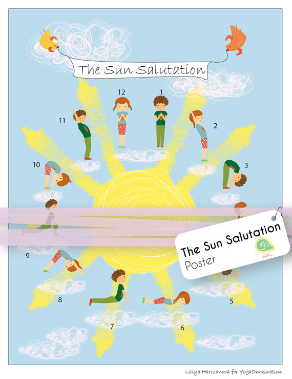 Kids Yoga Poster With The Poses From Sun Salutation