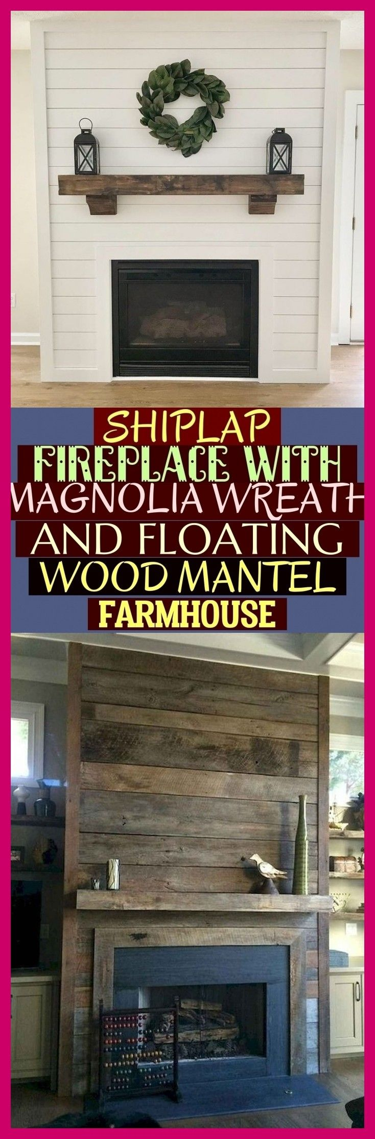 Photo of Shiplap Fireplace With Magnolia Wreath And Floating Wood Mantel Farmhouse ! #far…