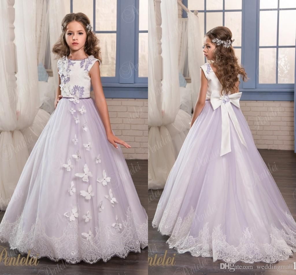 89700aa4f Vintage Lace Arabic 2017 Flower Girl Dresses Satin Ball Gown Crew ...