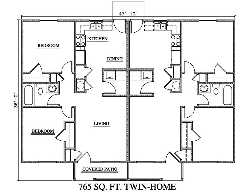 Low Cost House Plans 765 Sq Ft 2 Bedroom 1 Bath Duplex Quickplans Net Low Cost House Plans Duplex Floor Plans Duplex House Plans