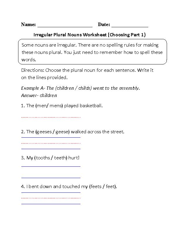 Choosing Irregular Plural Nouns Worksheet Part 1 | Education | Pinterest