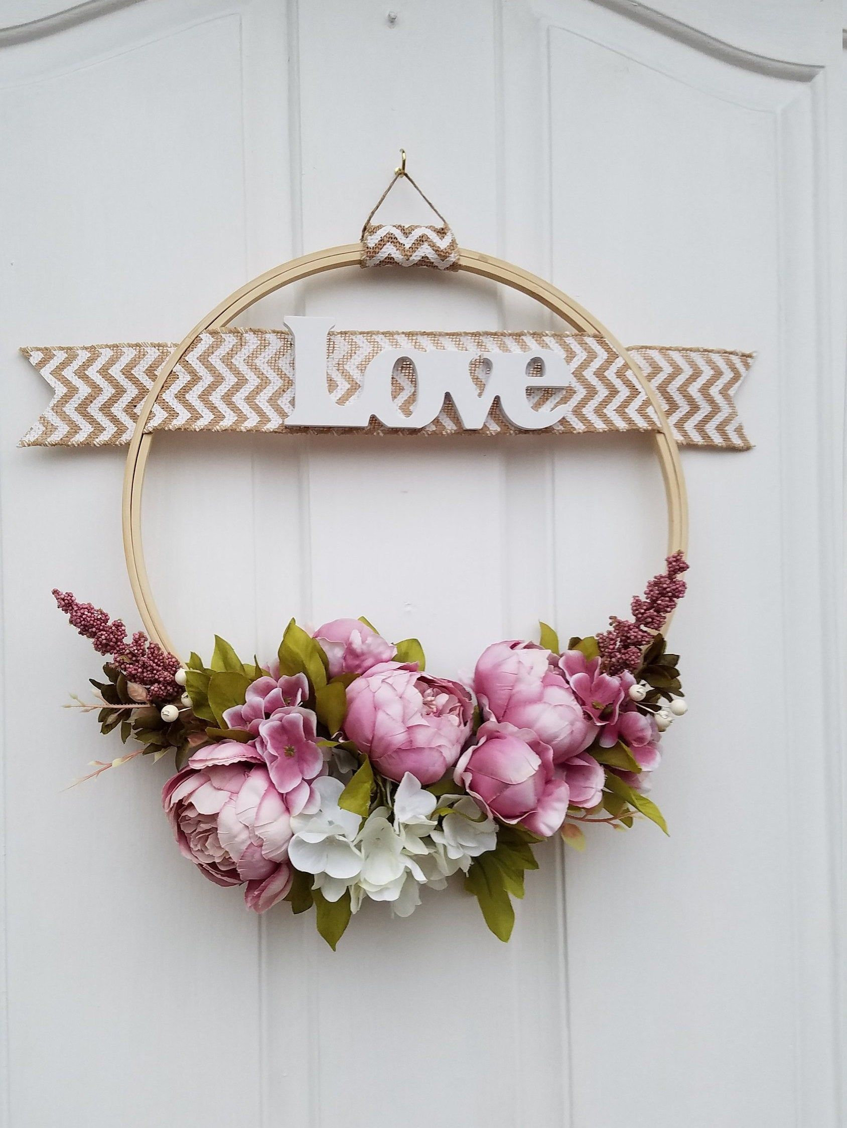 Hoop Wreath With Love Sign Gift For Mom Door Wreath Modern Wall Decor Floral Hoops Etsy Wreaths Valentine Wreath