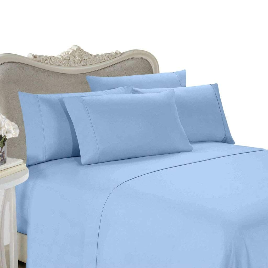 Egyptian Bedding Rayon From Bamboo Sheet Set Full Size Blue 300