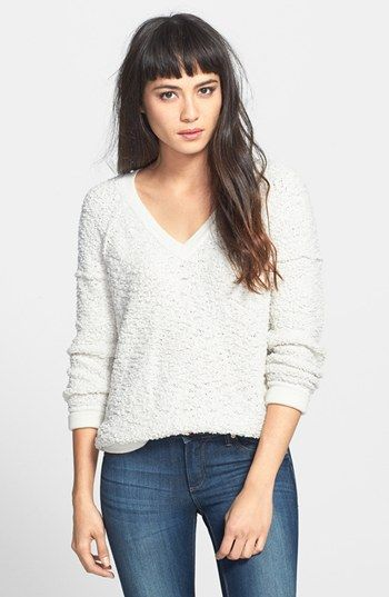Sanctuary Bouclé V-Neck Sweater available at #Nordstrom