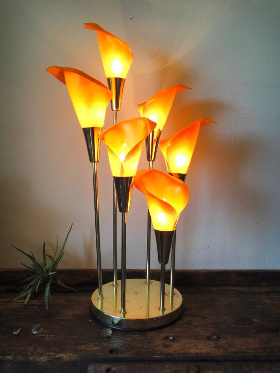 Vintage Lamp Calla Lily Light Table Lamp Retro Lighting Room
