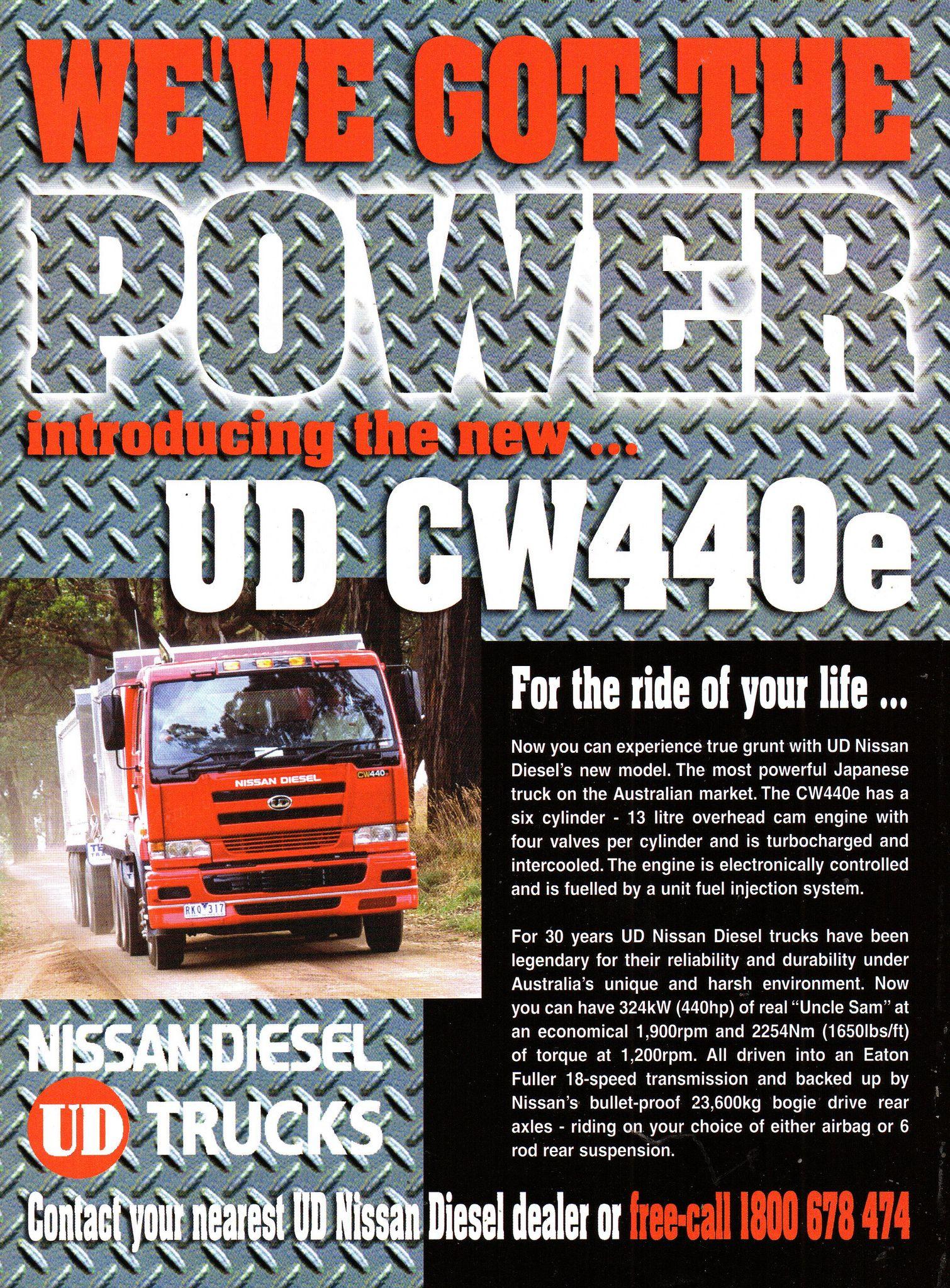 2002 Nissan UD CW440e Diesel Trucks Aussie Original