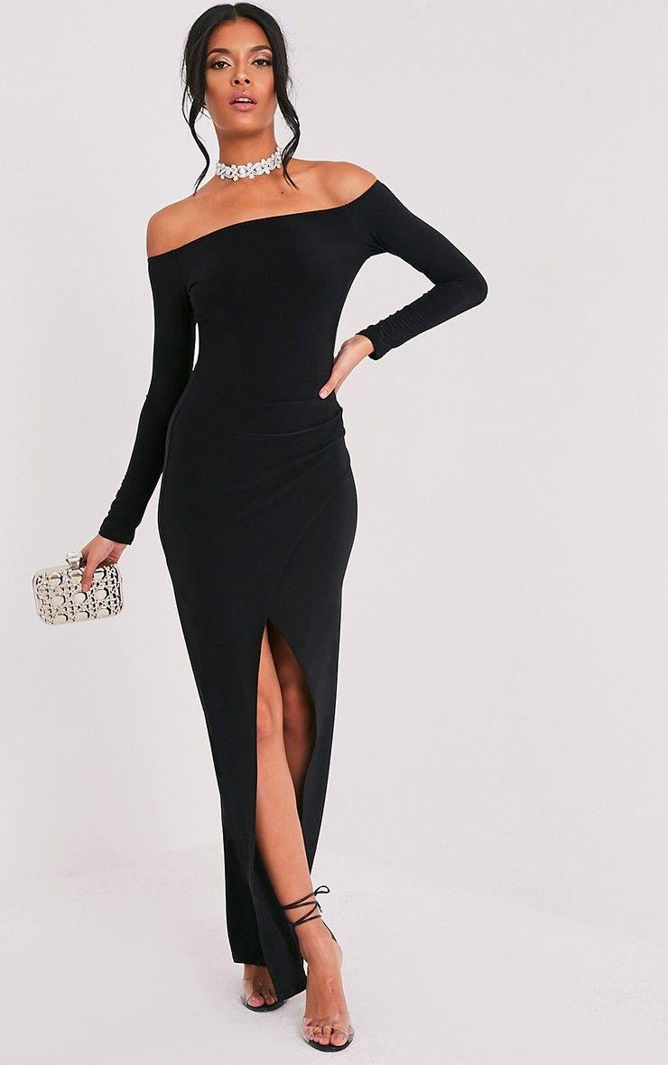 890127fd4 Sharlotte Black Slinky Wrap Bardot Maxi Dress | Beauty | | PrettyLittleThing