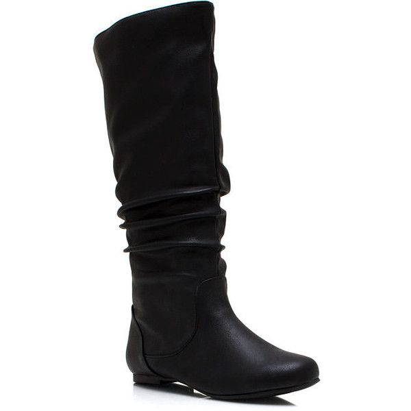 Do Slouch Faux Leather Boots ($17) ❤ liked on Polyvore featuring shoes, boots, fake leather boots, faux leather slouch boots, slouch boots, synthetic leather boots and vegan boots