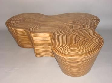 Organic Shaped Striped Wood Coffee Table Inlaid With Rattan Strips Contemporary Undulating Shape Cannot Customize