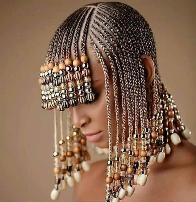 Gold Braids with Fringe and Beads | Braids with beads, Braided hairstyles, Natural hair styles