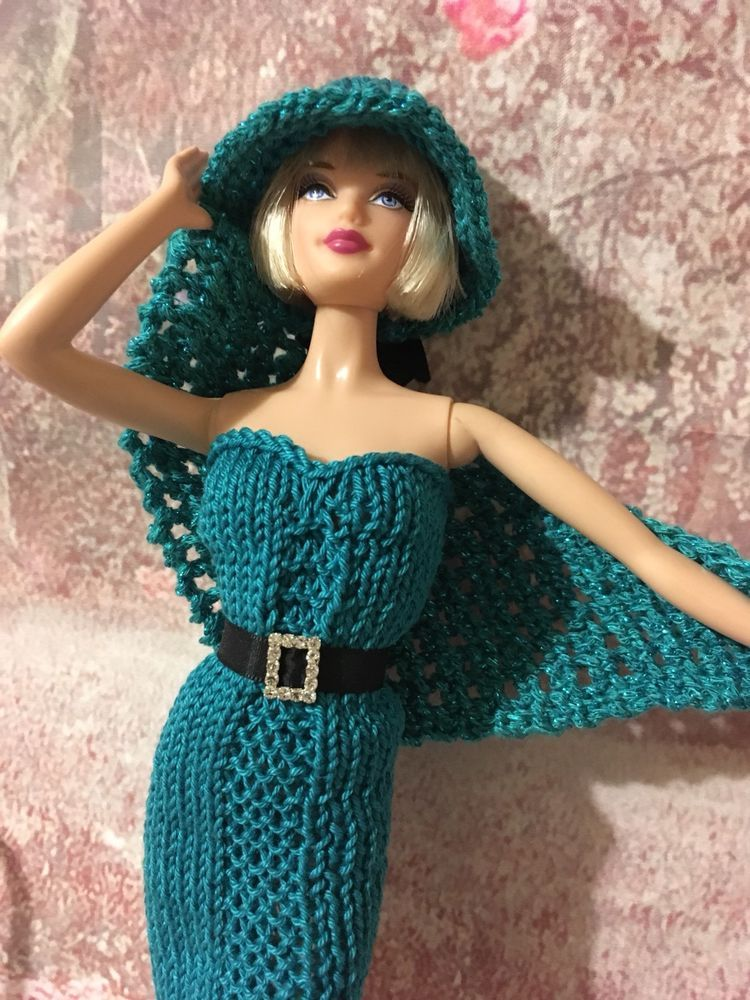 hand knitted barbie doll clothes/ Outfit | Barbie dress ...