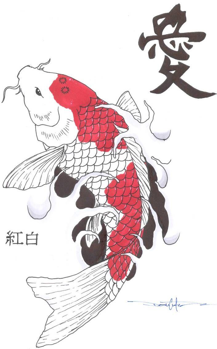 Kohaku Koi Fish by Schwarze1 on DeviantArt