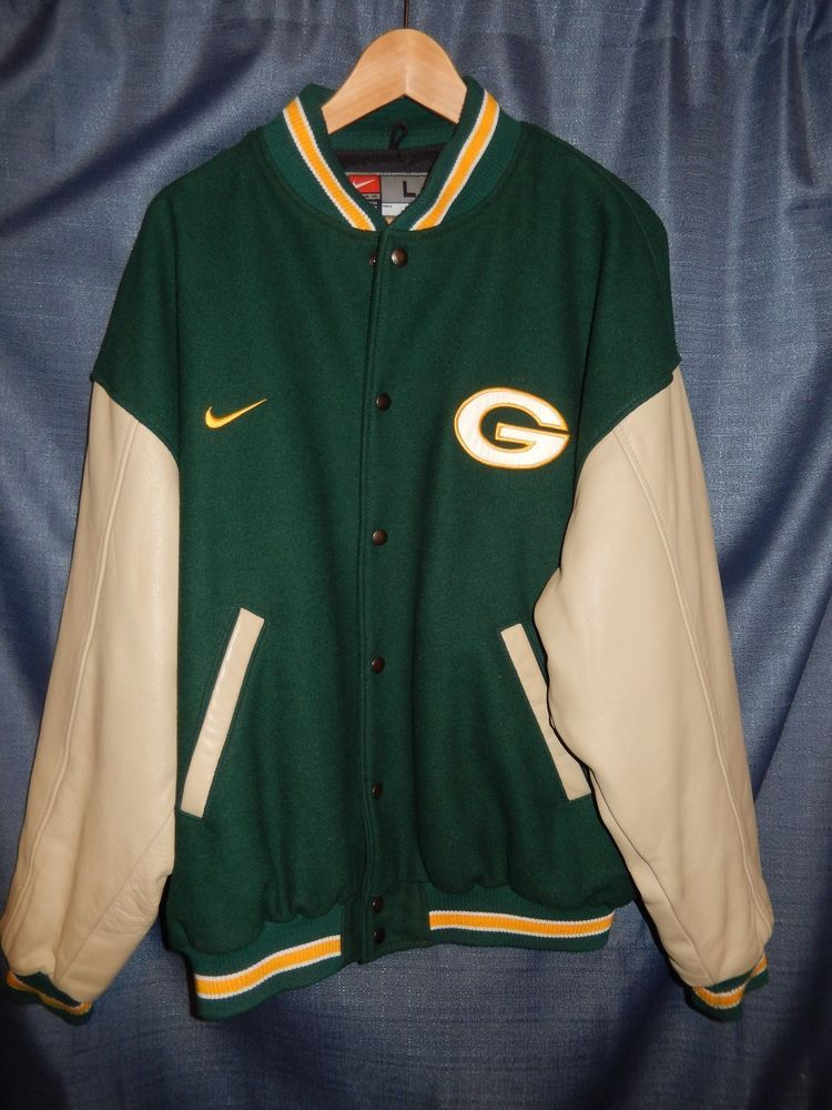 Vintage nike leather wool green bay packers varsity for Green bay packers retro shirt