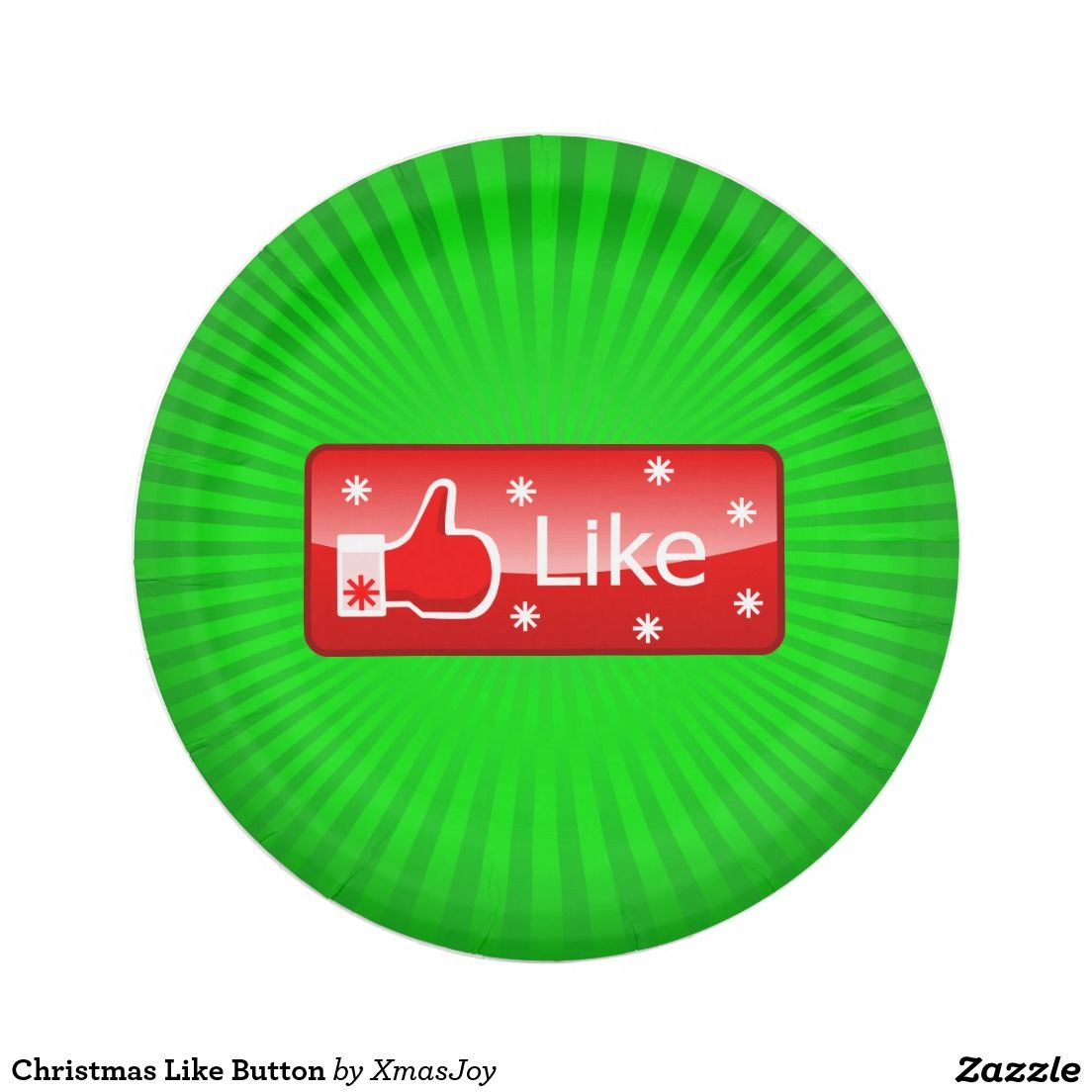 Christmas Like Button 7 Inch Paper Plate