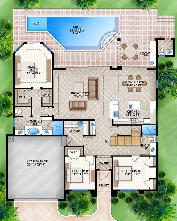 House Plan 207 00006 Florida Plan 2 716 Square Feet 5 Bedrooms 4 5 Bathrooms In 2021 Florida House Plans Pool House Plans Family House Plans