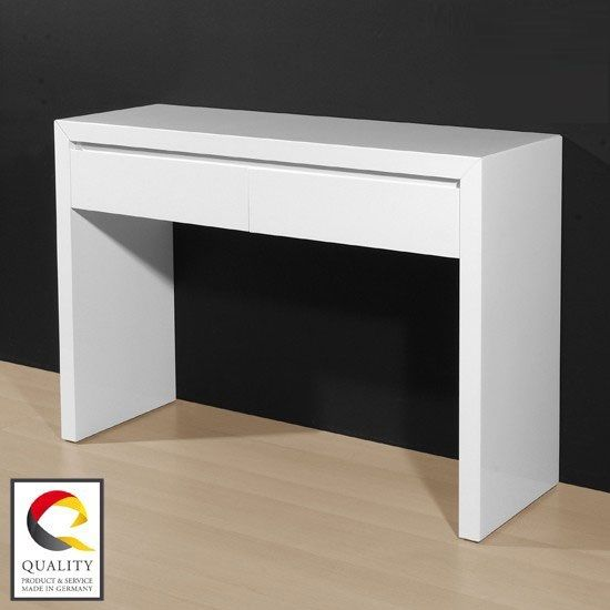 Fino Console Table In High Gloss White With 2 Drawers