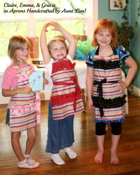 These cousins were happy to receive handsewn aprons from their Aunt Lisa . . . looks like they will be cooking up some trouble SOON!