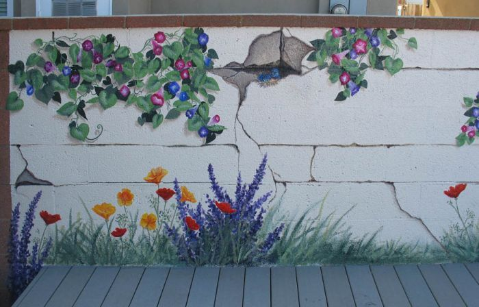 Garden mural what a great idea no watering or worrying Garden wall color ideas