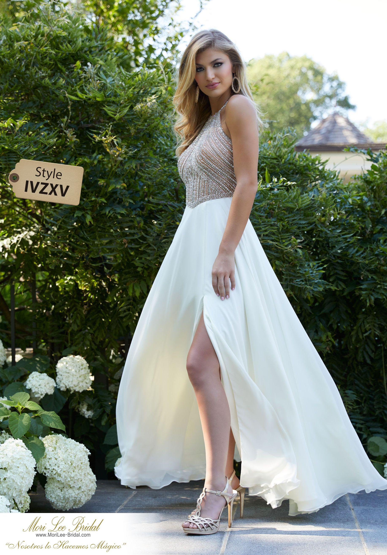 69809a261efcc Estilo IVZXV Crystal Beaded Net on Chiffon Sleek Prom Gown Featuring a Side  Slit, Flowy