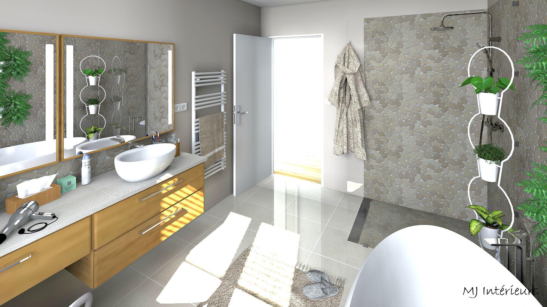 salle de bain ambiance nature et zen avec une mosa que de galets et des meubles en ch ne clair. Black Bedroom Furniture Sets. Home Design Ideas