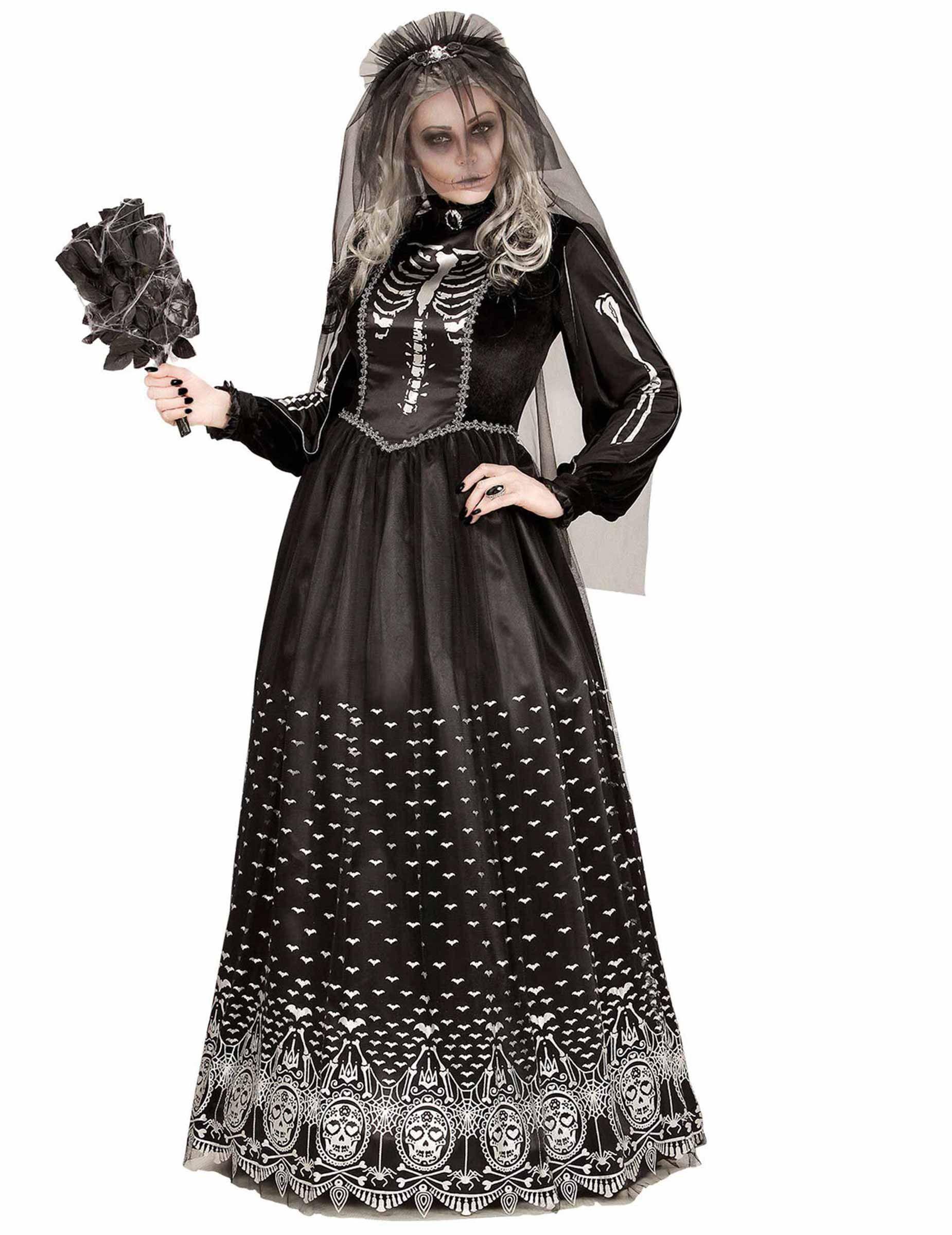 Costume da scheletro gotico nero per donna halloween  Un travestimento da  scheletro gotico nero per 3a522e334844
