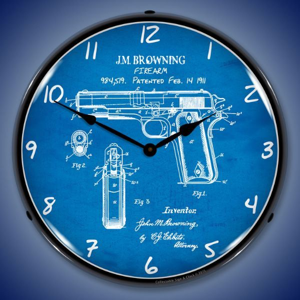 Colt 1911 gun patent light up wall clock garage office clock colt 1911 gun patent light up wall clock aloadofball Image collections
