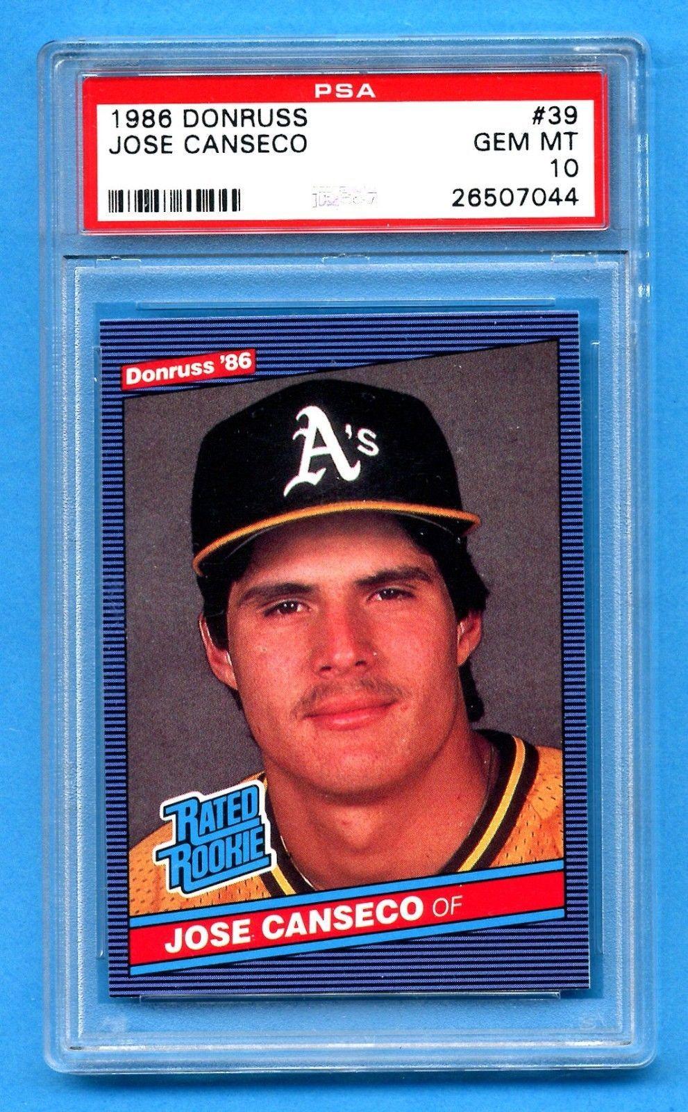 1986 donruss jose canseco rookie card psa 10 gem mint