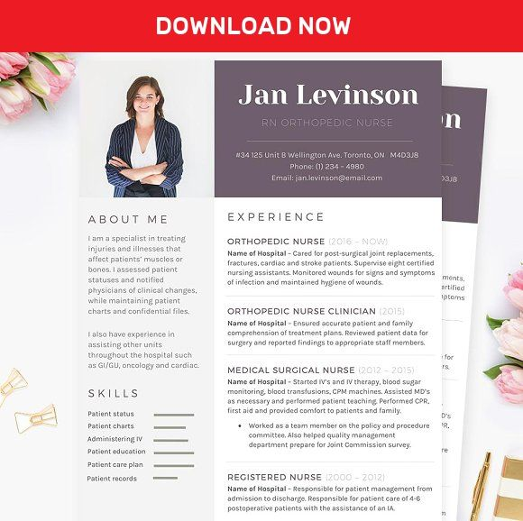 Nurse MS Word Resume Template Pkg by JannaLynnCreative on - m w resume