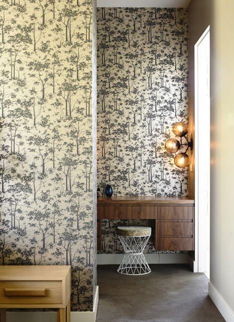 Love that fixture and wallpaper l Austin Design Associates