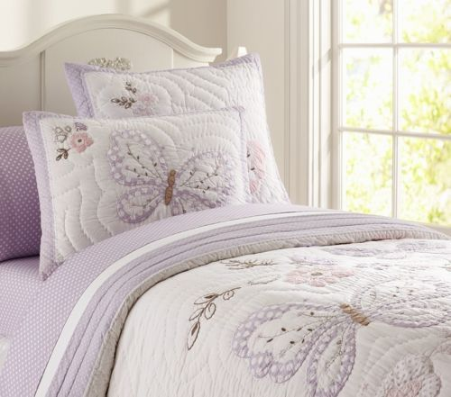Pottery barn kids gabrielle butterfly twin quilt new lavender ... : kids twin quilts - Adamdwight.com